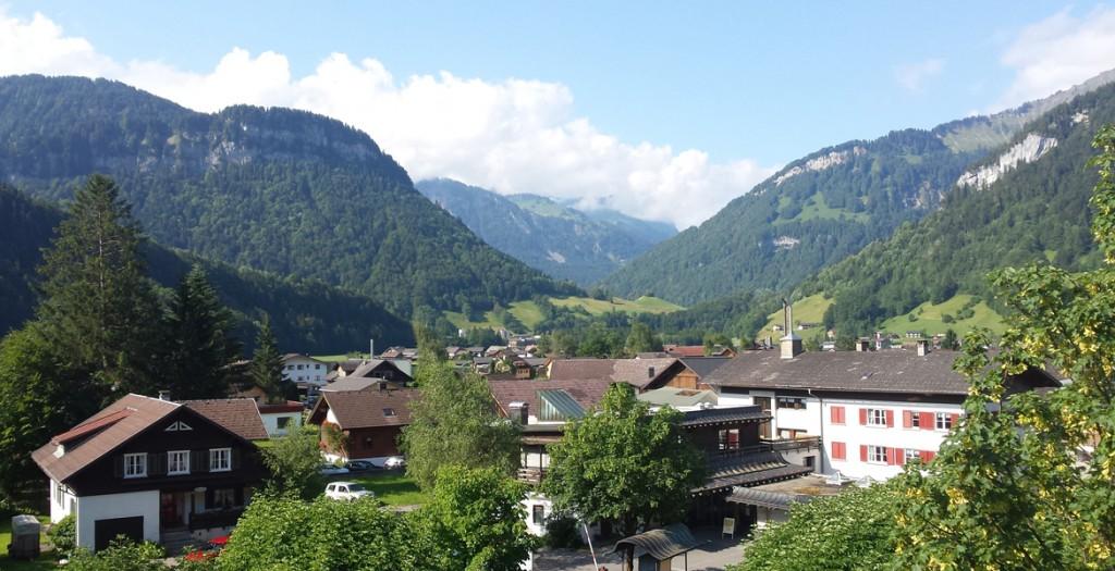 Blick auf das Panorama der Alpen